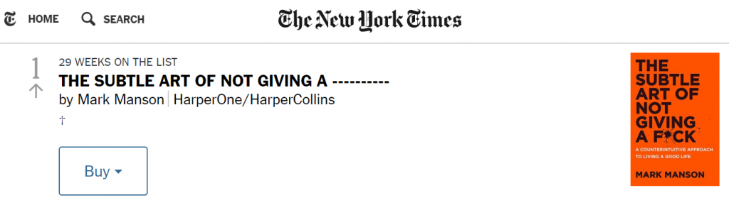 First place in the ranking of New York Times